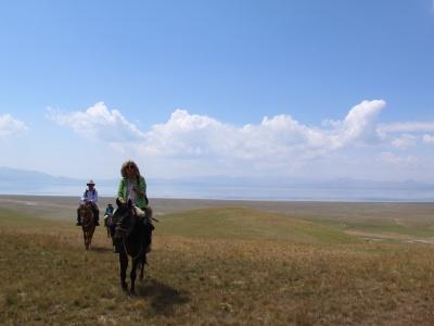 Horse riding to Son Kul Lake